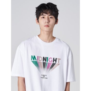 남성 화이트 코튼 멀티 컬러 레터링 반소매 티셔츠 (269742DY21)