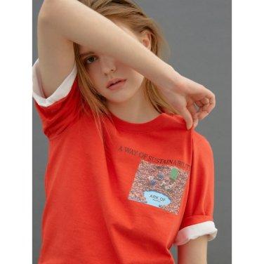 [Online Exclusive] 레드 그래픽 프린트 베이직 티셔츠 (BF9342N036)