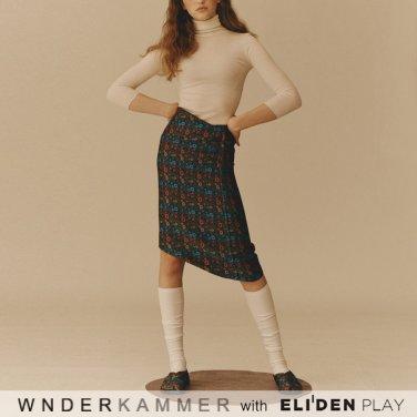 [분더캄머:WNDERKAMMER] Jacquard Flower Skirt_Blue (WK9F9-JFSK030)