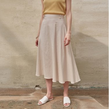 COTTON FLARE MIDI SKIRT_BEIGE