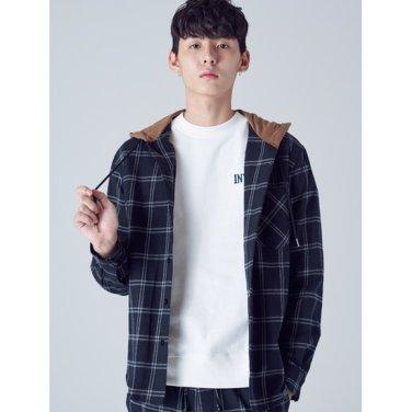 남성 블랙 코튼 체크 후드 배색 셔츠 (268964WY45)