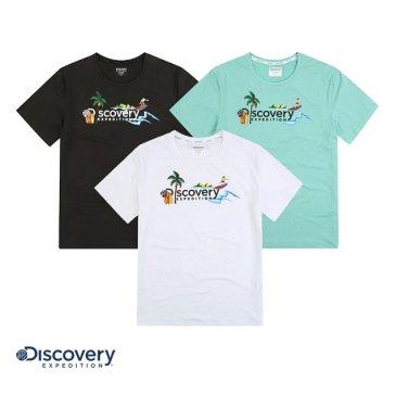 공용 비치 로고 그래픽 라운드 티셔츠DXRTA2931