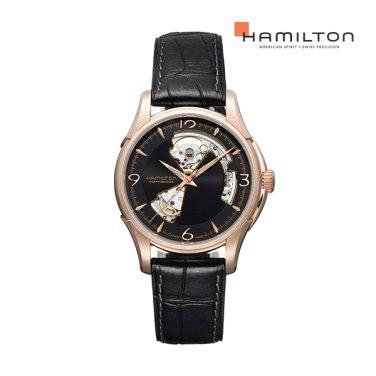 H32575735 재즈마스터 오픈하트 40mm 블랙 5N18 가죽 남성 시계