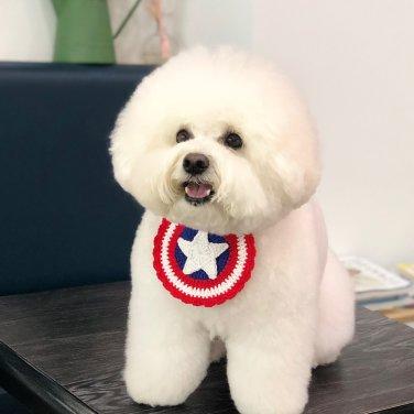 캡틴 니트 강아지 고양이 턱받이