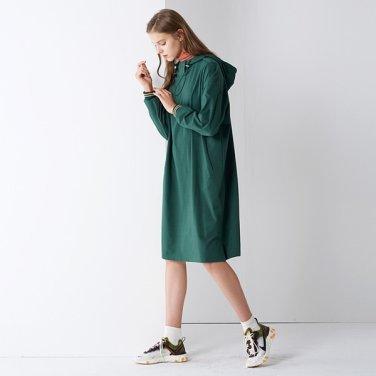 [핀블랙] BAR-CODE LONG HOOD ONE-PIECE GREEN