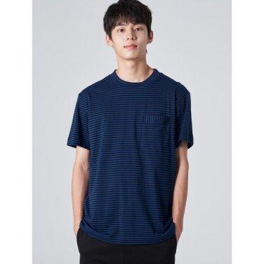 남성 블루 스트라이프 포켓 반소매 티셔츠 (219742BYAP)