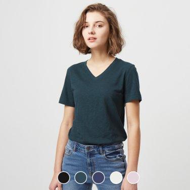 여 브이넥 반팔 티셔츠(솔리드) 329523S