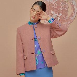 Waved Jacket-Granny Pink