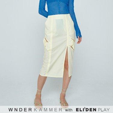[분더캄머:WNDERKAMMER] 20SS Twist Long H-line Skirt Khaki Yellow (WK0M5-TLSK050)