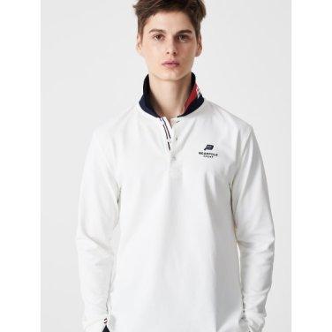 화이트 남성 칼라 배색 포인트 긴팔 피케 티셔츠 (BO9141D031)