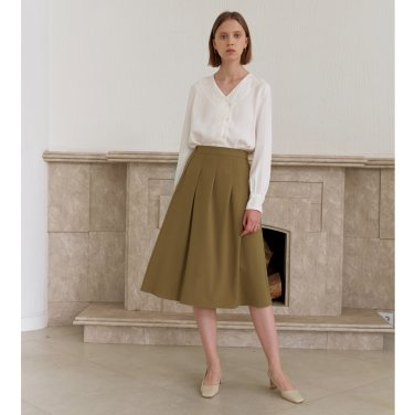 TUCKED SKIRT_BEIGE