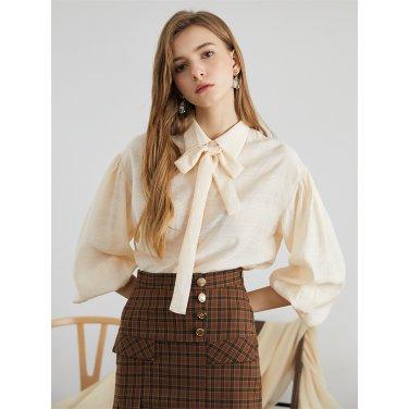 [에프코코로미즈] drop shoulder shirring blouse IV