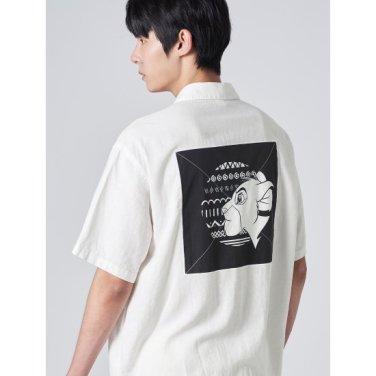 남성 [라이온킹] 화이트 우븐 패치 반소매 셔츠 (429765LX11)
