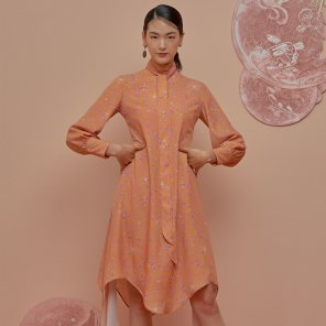 Melting Down Scarf Dress-Persimmon