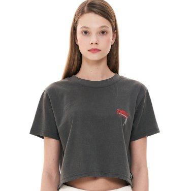 (CTC1) 피그먼트 로고 반팔 크롭 티셔츠 차콜