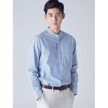 남성 블루 핀 스트라이프 헨리넥 셔츠 (228764TY3P)