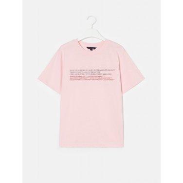 [Online Exclusive] 라이트 핑크 레터링 루즈핏 반소매 티셔츠 (BF9342N04Y)