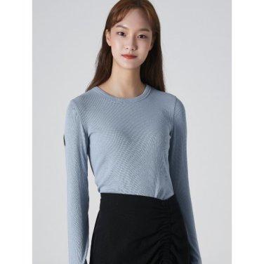 여성 스카이 블루 솔리드 리브 슬림 티셔츠 (329841LY3Q)