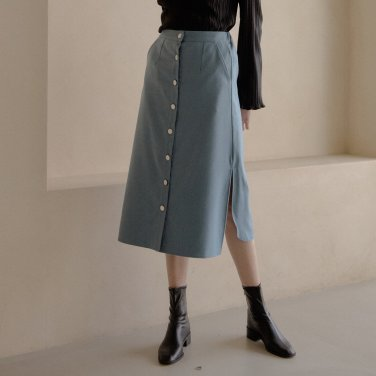 WOOL LONG SKIRT_SKY BLUE