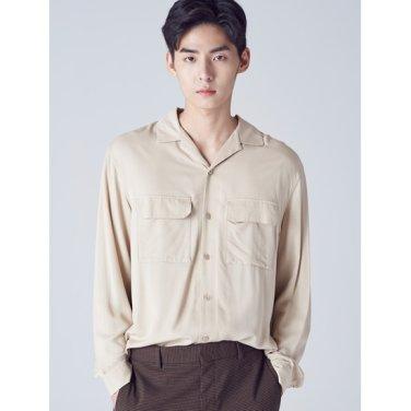 남성 베이지 솔리드 투포켓 오픈칼라 셔츠 (218864SY2A)