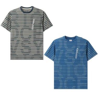 남성 스트라이프 히든 로고 라운드 티셔츠 DMRT58831