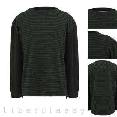 리버클래시(DJ) 그린 스트라이프 보트넥 긴팔 티셔츠 LEW41131