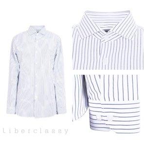 리버클래시(DJ) 블루 스트라이프 와이드카라 드레스 셔츠 LGS31408