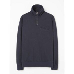 하프 집업 스웻 셔츠 네이비 / Half Zip Sweatshirt in Navy Dry Handle Loopback / REF 21603