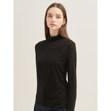 블랙 소프트 터틀넥 티셔츠 (BF9741C045)