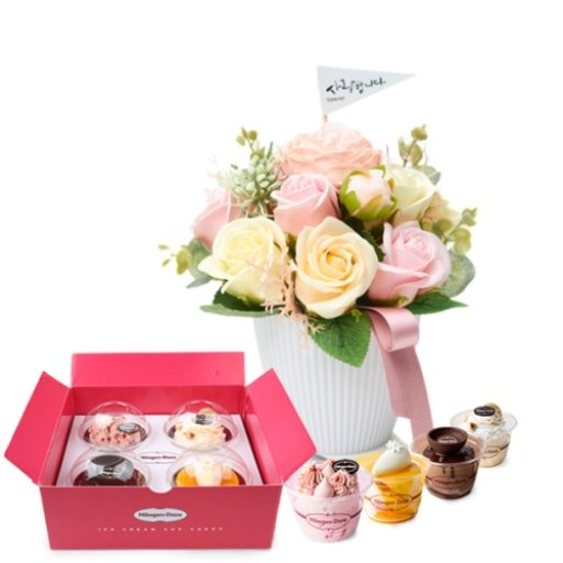 하겐다즈 컵케익4P+비누꽃키스미 / 무료배송