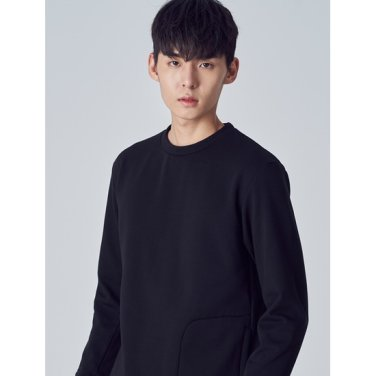 남성 [ACTIVE8] 블랙 솔리드 기모 원포켓 스웨트 셔츠 (428X41WA35)
