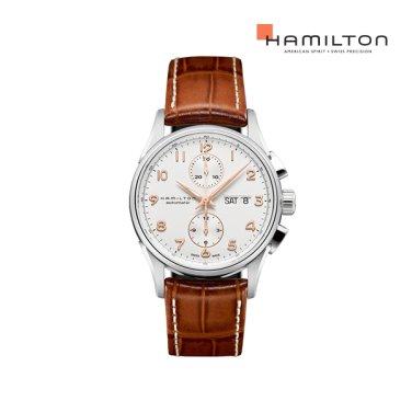 H32576515 재즈마스터 마에스트로 41mm 화이트 / 브라운 가죽 남성 시계