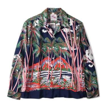 DUKE KAHANAMOKU Coconutpalms & Diamond Shirt Navy