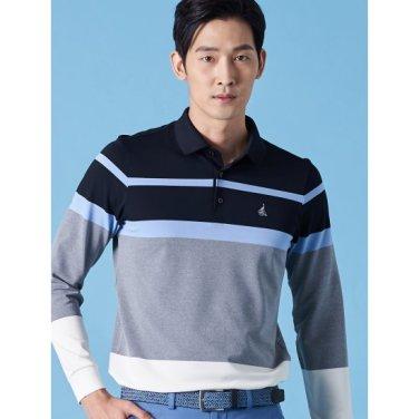 남성 그레이 보더 스트라이프 칼라 티셔츠 (BJ9141B053)