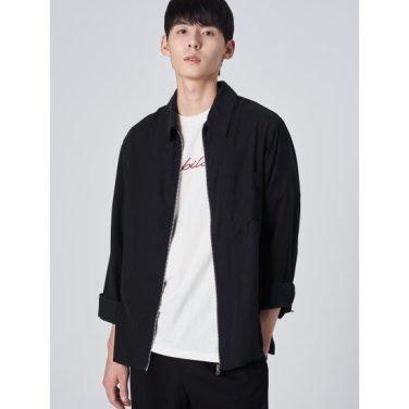 남성 블랙 트윌 지퍼 루즈핏 셔츠 (429864CY35)