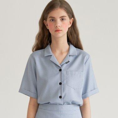 깅엄 체크 셋업 셔츠 블루(B2T10BL)