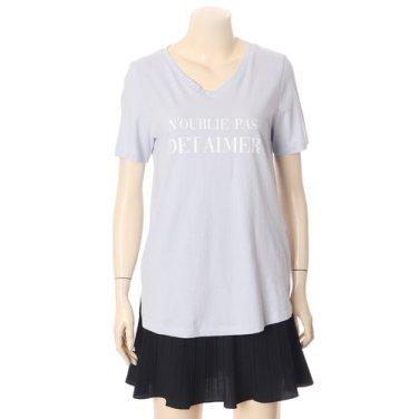 브이넥 레터링 티셔츠 OW9MZ067-EL3
