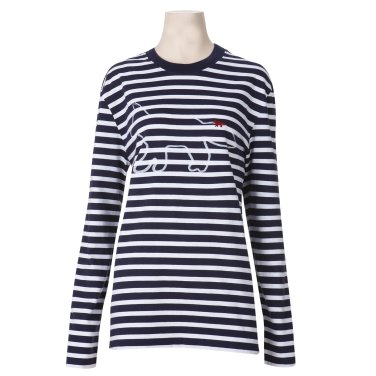 메종키츠네 여성 도그 프린트 티셔츠 BU00100AT1600 화이트-네이비