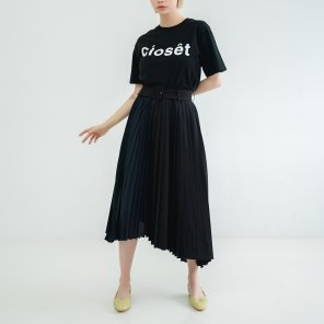 Unbalance Belted Pleats Skirt Black(BSSK320_04)