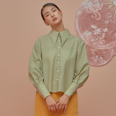 Virgin Wool Check Blouse