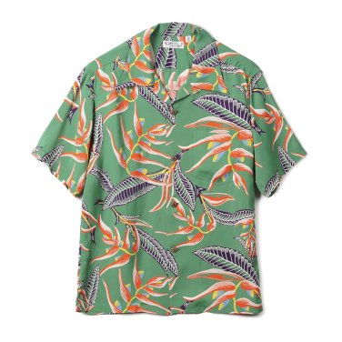 SUN SURF Hanging Heliconia Rayon S/S Shirt Green