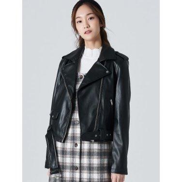 여성 블랙 페이크 레더 쇼트 재킷 (32013ZLY15)