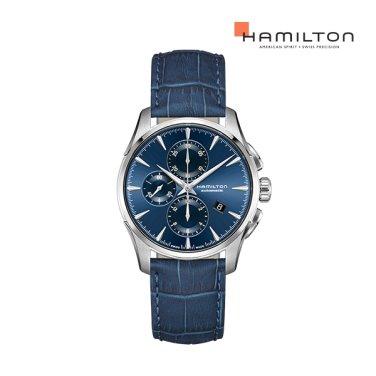 H32586641 재즈마스터 오토 크로노 42mm 블루 다이얼 블루 소가죽 남성 시계