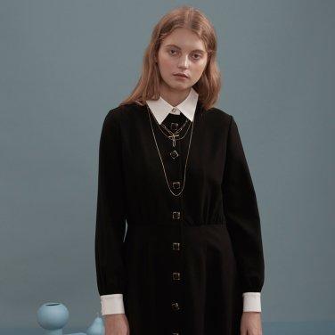 블랙 사파이어 카라 롱 드레스