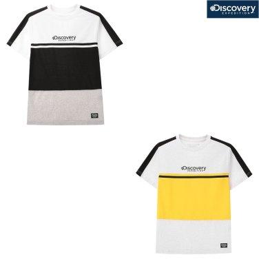 남성 중간로고 컬러블럭 라운드 티셔츠 DMRT7O831