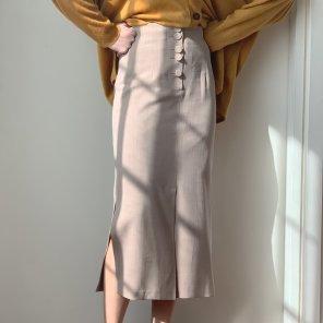 Herringbone Button Slit Midi Skirt Beige(2019SSSK320_001)