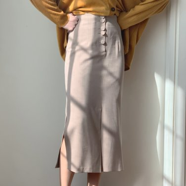 Herringbone Button Slit Midi Skirt Beige(2019SSSK320_001)