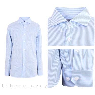 리버클래시(DJ) 블루 스트라이프 클래식 와이드카라 드레스 셔츠 LGS31411