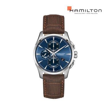 H32586541 재즈마스터 오토 크로노 42mm 블루 다이얼 브라운 소가죽 남성 시계