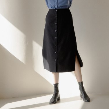 WOOL LONG SKIRT_BLACK